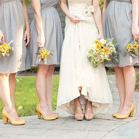 gray-bridesmaids-dresses-yellow-wedding-shoes